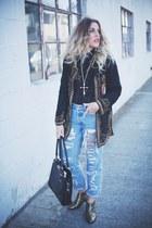 black vintage jacket - gold Very Volitale boots - black just fab bag