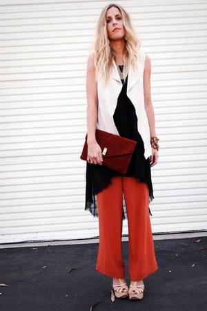 black thrifted vintage dress - burnt orange thrifted pants - eggshell Elsewhere