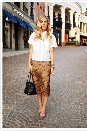 white QSW top - bronze thrifted vintage skirt - olive green Manolo Blahnik heels