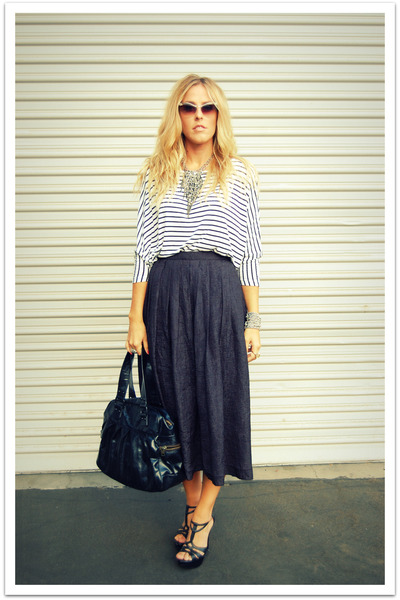 black River Island sunglasses - black Steve Madden shoes - black vintage skirt -