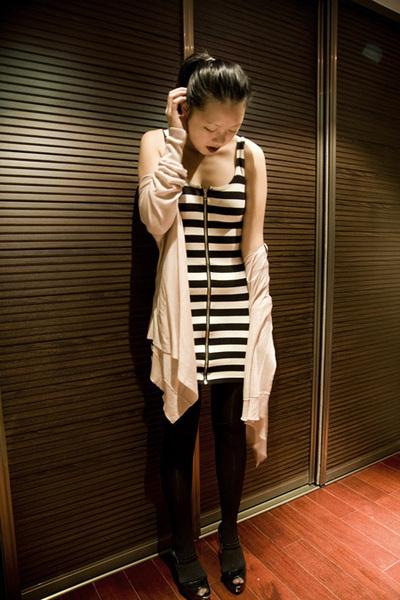 black H&M tights - white H&M dress - black Michael Kors shoes - beige H&M cardig