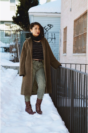 dark brown long vintage coat - olive green BDG pants