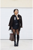 leather vintage coat - Urban Outfitters boots - Urban Outfitters tights