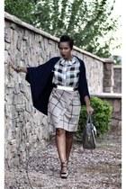 black asos shirt - tan 31 Phillip Lim bag - white BCBG belt - beige asos skirt