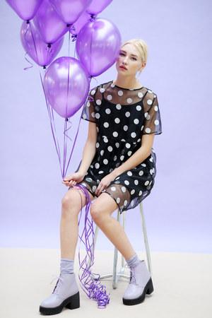 light purple THE WHITEPEPPER boots - black THE WHITEPEPPER dress