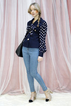 navy vintage THE WHITEPEPPER blouse
