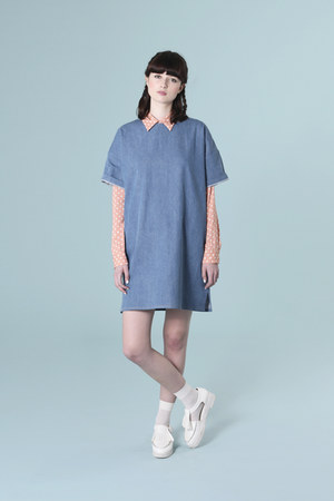 coral THE WHITEPEPPER shirt - sky blue THE WHITEPEPPER dress