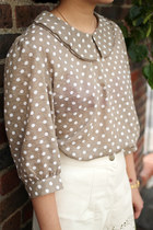 Light Brown Polka Dot THE WHITEPEPPER Blouses