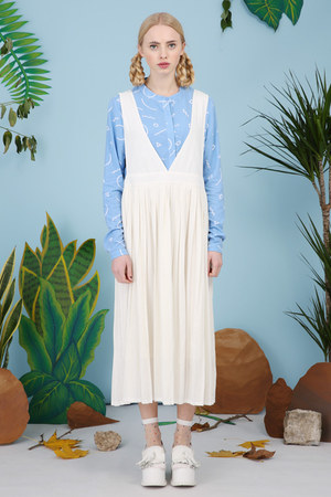 sky blue THE WHITEPEPPER shirt - ivory THE WHITEPEPPER dress