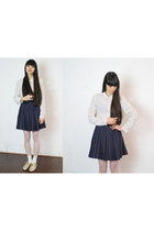 navy check skirt THE WHITEPEPPER skirt