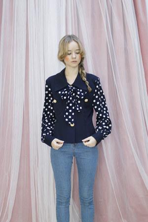 navy vintage THE WHITEPEPPER blouse
