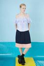 Sky-blue-the-whitepepper-top-navy-the-whitepepper-skirt