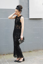 black lace long dress THE WHITEPEPPER dress