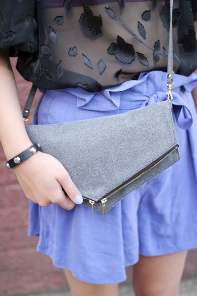 heather gray clutch shoulder THE WHITEPEPPER bag