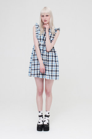 sky blue THE WHITEPEPPER dress - white THE WHITEPEPPER socks