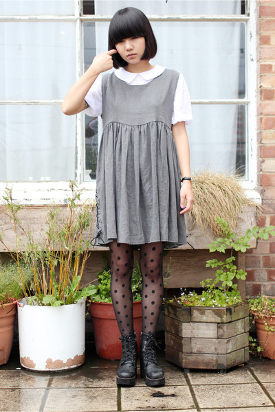 heather gray lace up THE WHITEPEPPER dress