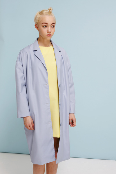 light blue THE WHITEPEPPER coat - light yellow THE WHITEPEPPER dress
