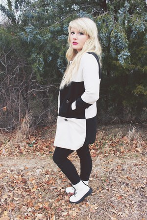 white combat boots Forever 21 boots - white black and white Sheinside coat