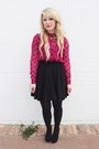 Hot-pink-polka-dot-urban-outfitters-top-black-black-urban-outfitters-skirt