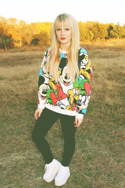 black black PacSun pants - white mickey mouse Forever 21 sweater