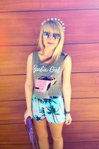sky blue comfy Forever 21 shorts - amethyst clutch Urban Outfitters bag
