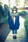 Navy-h-m-coat-blue-denim-diesel-jeans-dark-brown-bailey-hat-gray-h-m-scarf