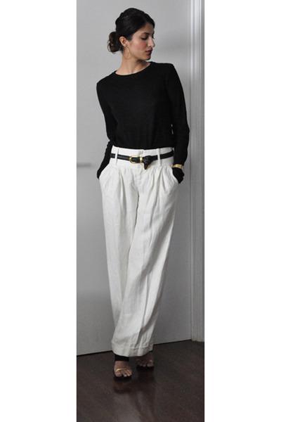 white pants and black shirt - Pi Pants