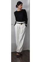 black PROENZA SCHOULER shirt - white Club Monaco pants - gold Dries Van Noten sh