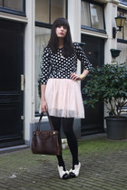 ivory wholesale-dressnet shoes - black polkadot Topshop sweater - dark brown vin