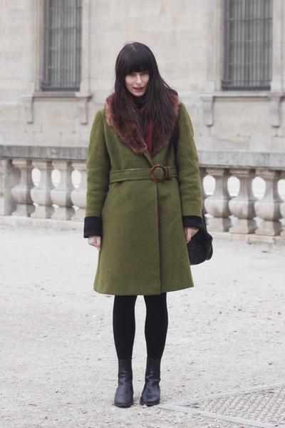 olive green vintage coat - black vintage boots
