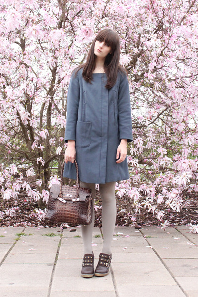dark brown shoes - blue H&amp;M coat - heather gray H&amp;M tights - dark brown vintage 