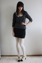 dark gray miss patina sweater - off white Wholesale Dress shoes - black H&M skir