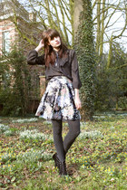 black vintage blouse - floral vintage skirt
