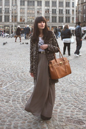 brown leopard Zara coat - tawny p&c bag - gray maxi Monki skirt - black Moschino