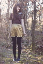 gold Forever21 skirt - dark brown feather Zara top