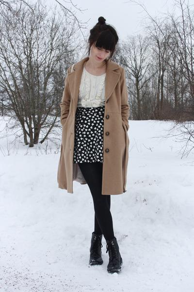 camel H&M coat - H&M skirt - H&M cardigan
