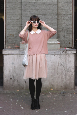 black H&amp;M shoes - light pink River Island dress - pink H&amp;M sweater - light blue 