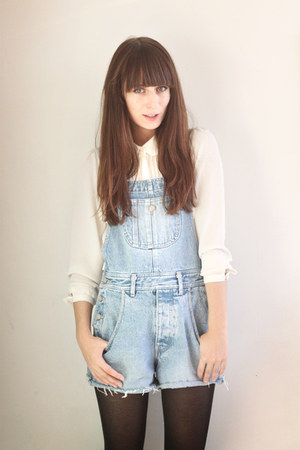 sky blue denim Secondhand romper - white H&amp;M blouse