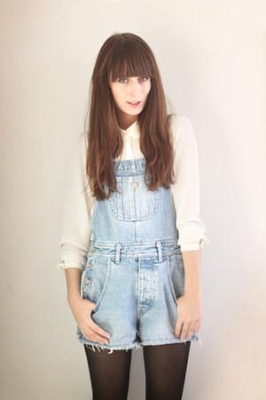 sky blue denim Secondhand romper - white H&M blouse