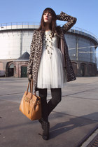 ivory Shikha dress - brown Zara coat - tawny p&c bag - black H&M heels