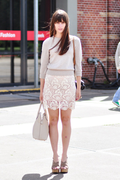 ivory miss patina skirt - beige H&M sweater - heather gray Esprit heels