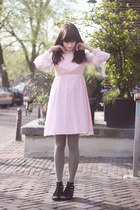 black H&M shoes - light pink vintage dress