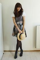 gray Xanaka shirt - black vintage skirt - H&M hat
