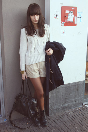 navy Primark coat - off white Bershka sweater - burnt orange old tights - black