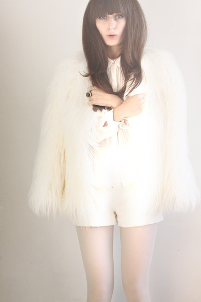 white faux fur coat