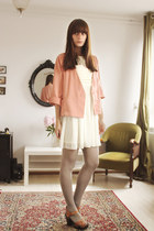 ivory modcloth dress - pink H&M blazer - brown H&M heels