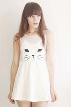 white cat romwe dress