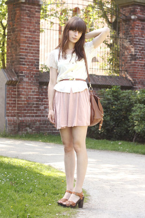 tawny H&M shoes - light pink H&M skirt - ivory vintage blouse