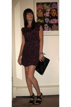 purple Heritage - Forever21 dress - black shoes - blue accessories - black Mango