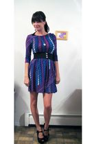 purple I Love H81 dress - black Mandee belt - black Nine West shoes
